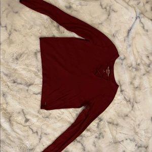 Burgundy, Crop top Long sleeve